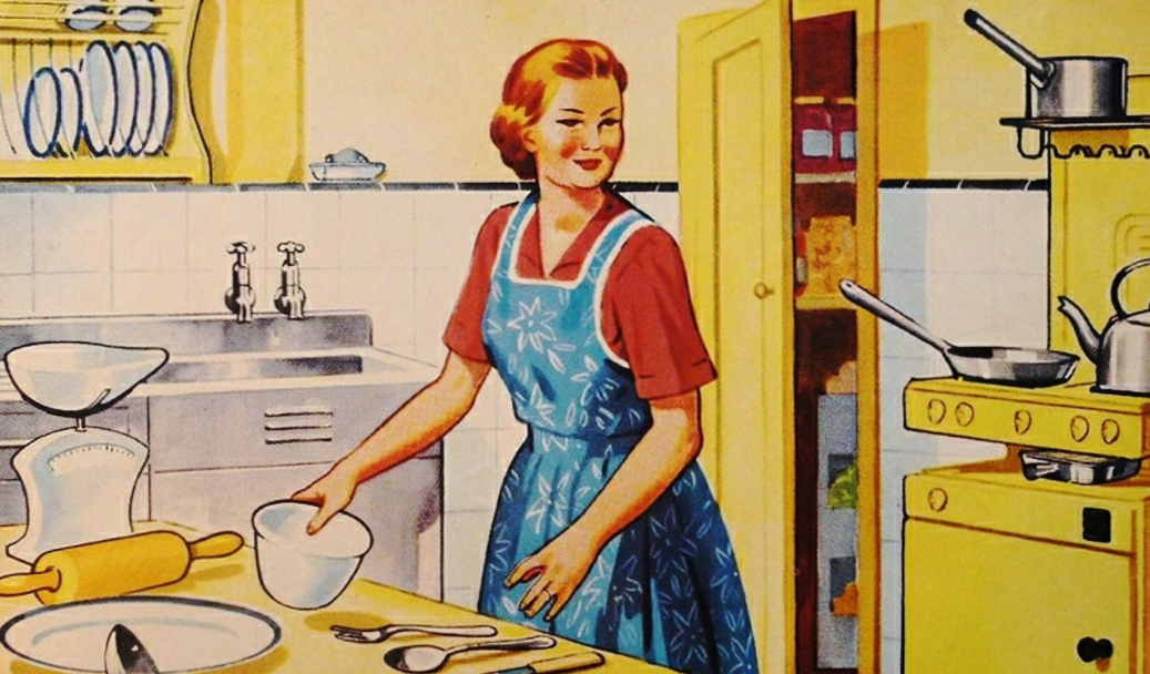 Stylized graphic of 1950s woman to illustrate dress codes