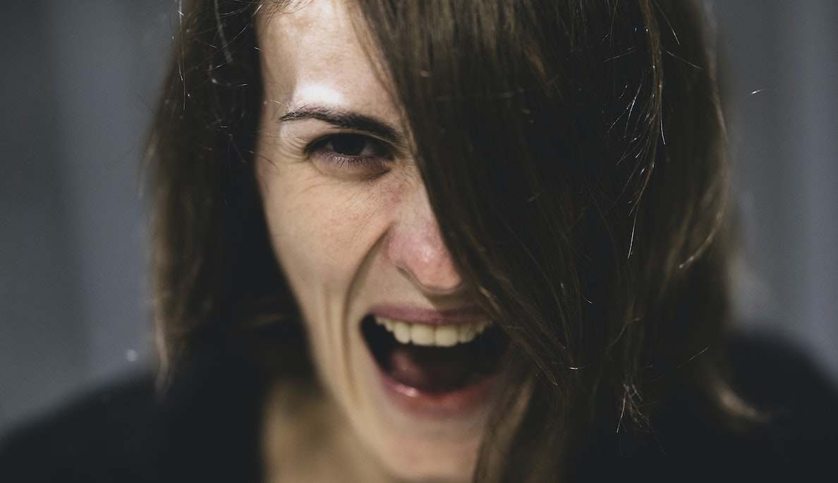 Image of a woman screaming