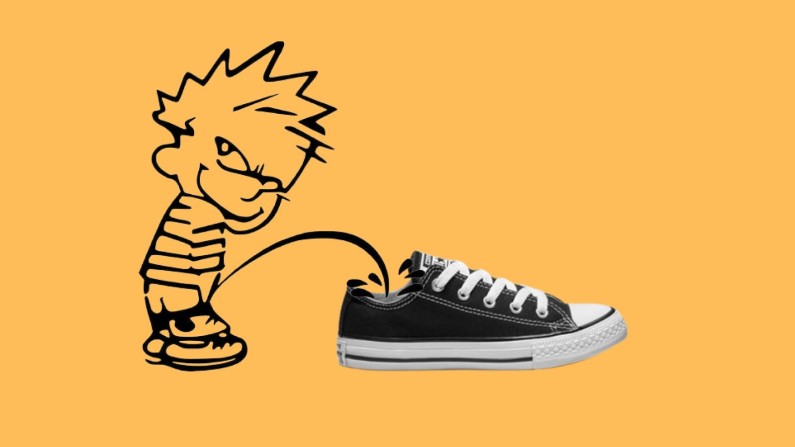 Graphic of kid peeing in a shoe