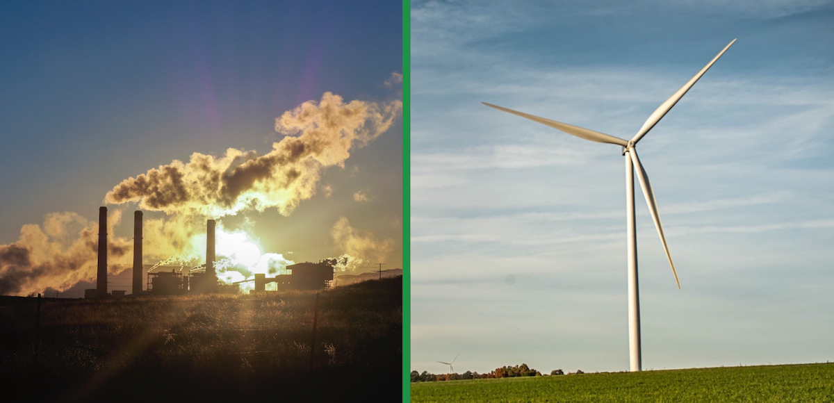 Side-by-side images - a coal-fired plant and a wind turbine