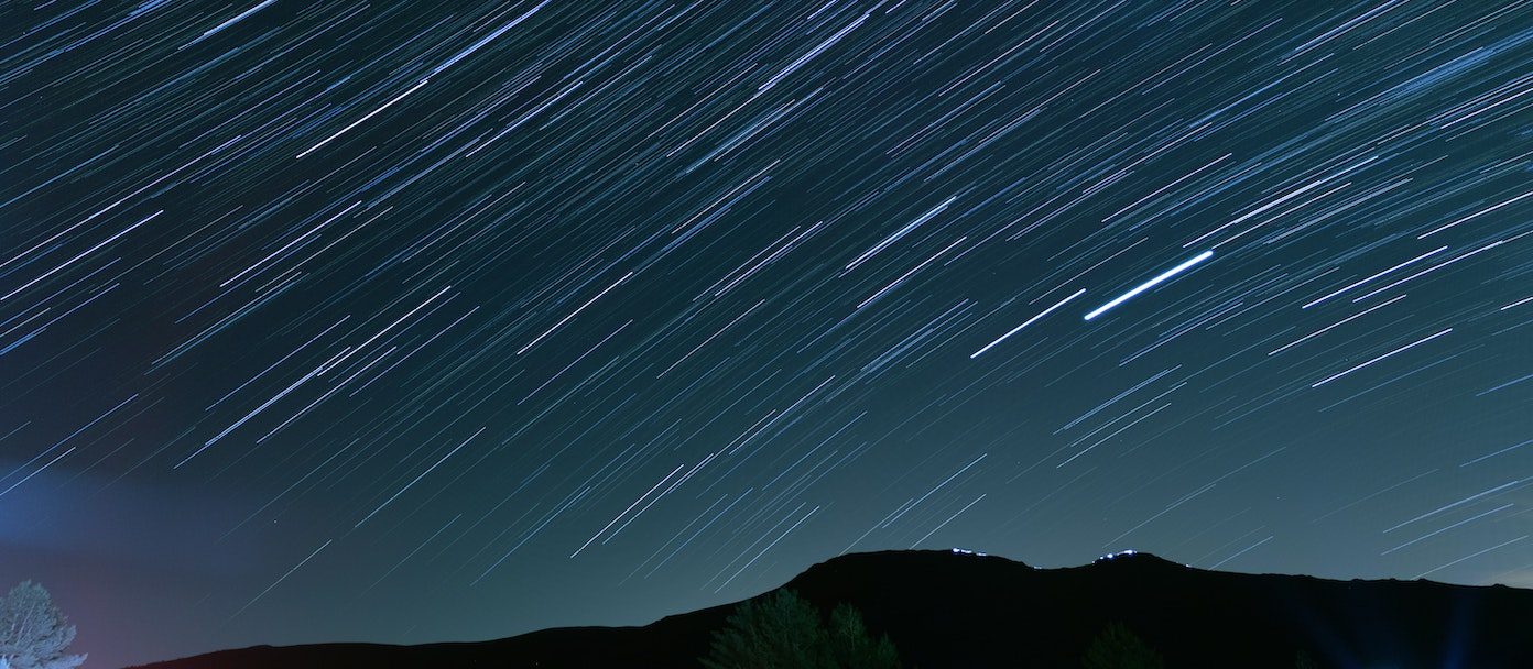 Time-lapse photo of stars at night