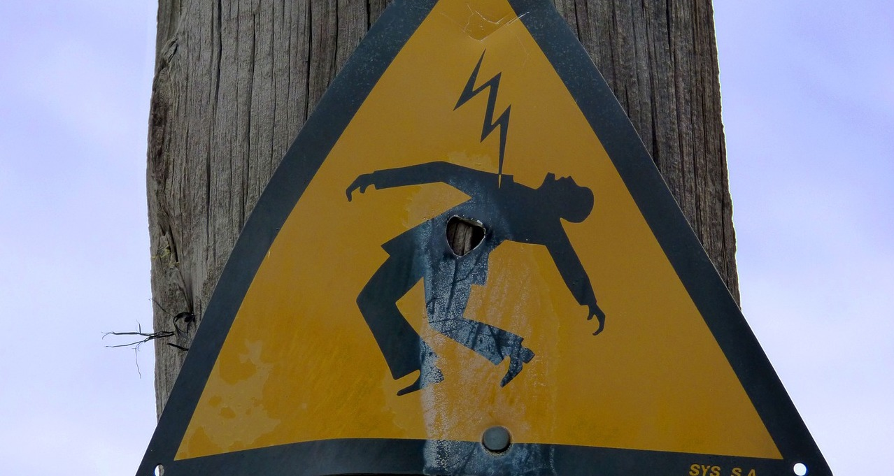 Photo of a danger of electric shock sign for mindfulness post