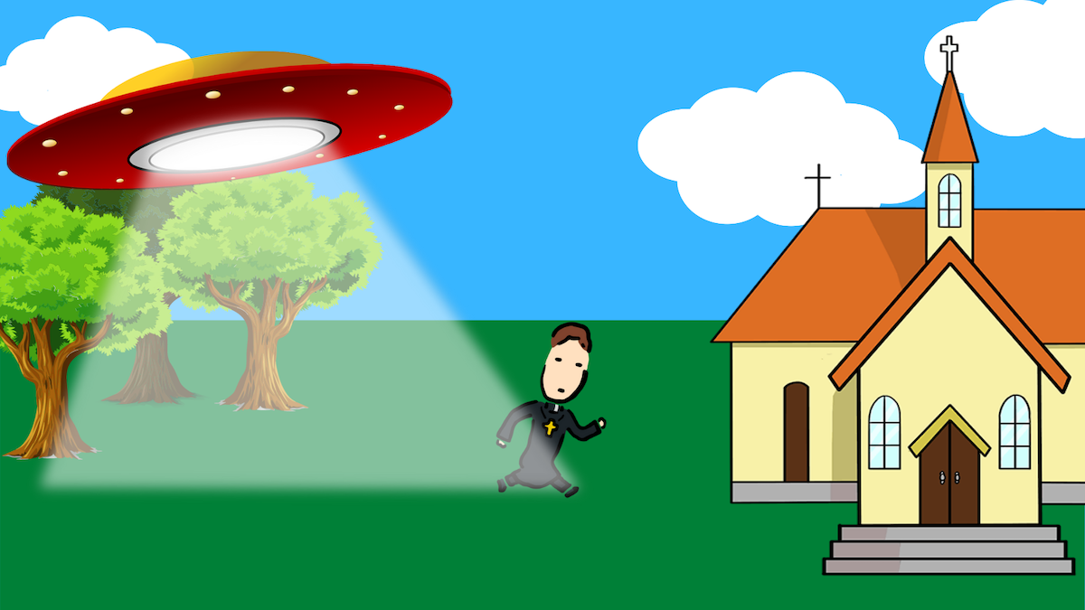Graphic of a bishop running from a UFO toward organized religion