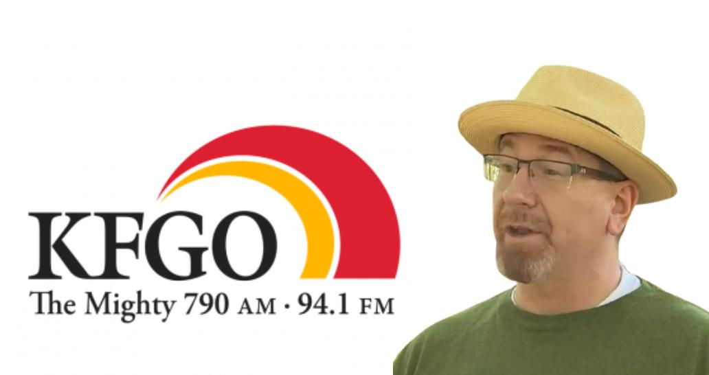 Graphic incorporating KFGO logo and Martin C. Fredricks IV