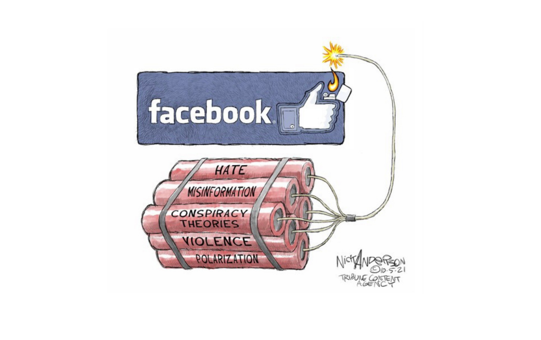 Cartoon about Facebook's damaging effects by Nick Anderson