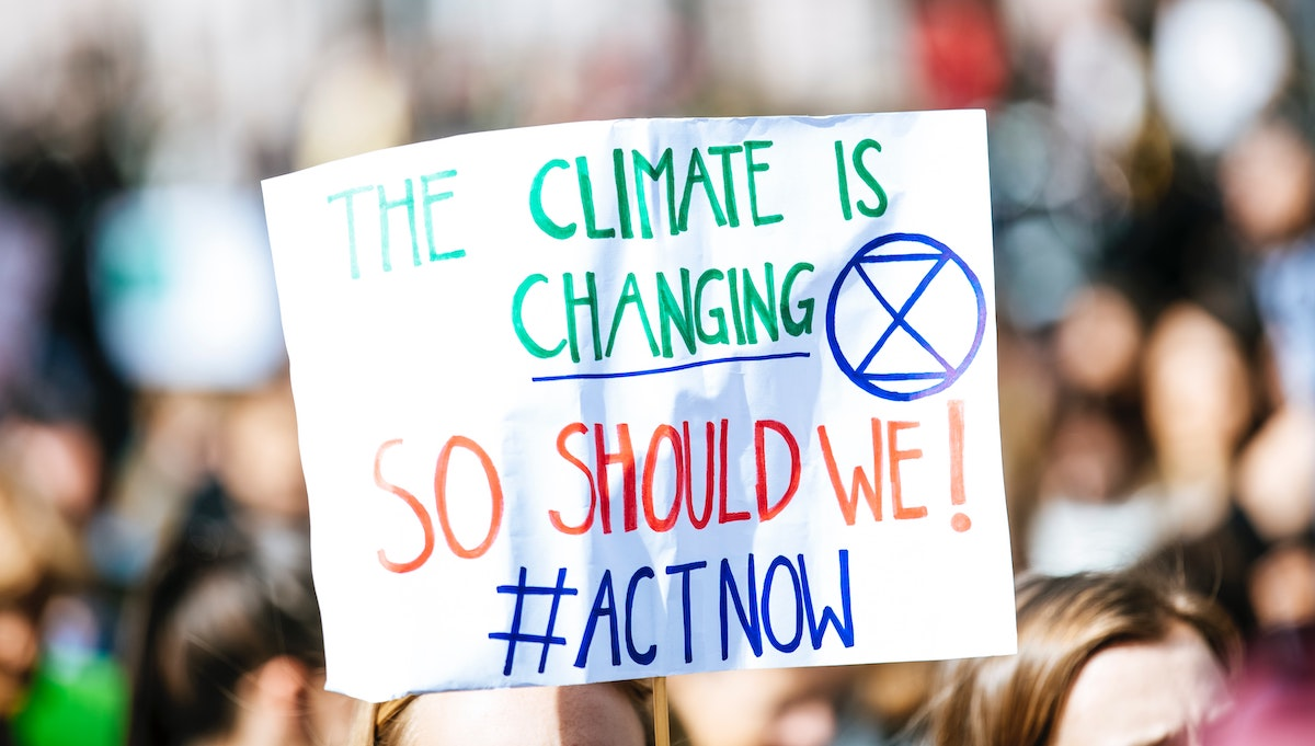 Photo of a climate-change protest sign